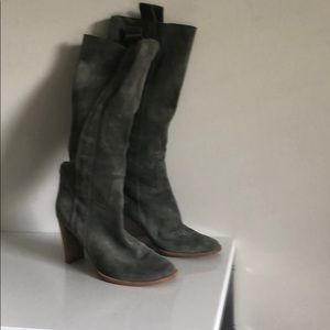 Shoes - Knee tall geen/ gray 70 style boots